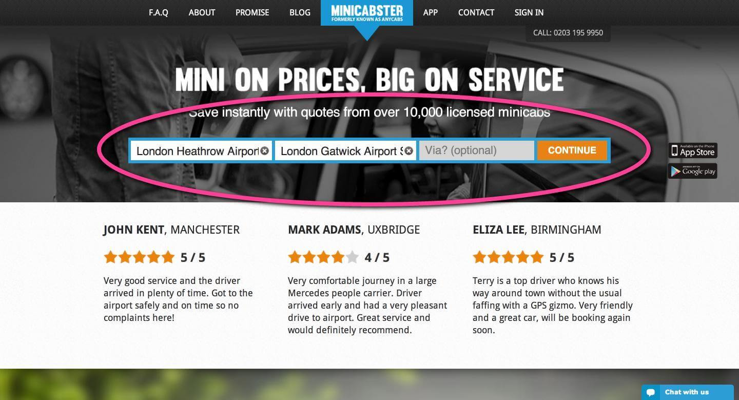 Minicabster, Get minicab quotes from London and the UK fast (2)